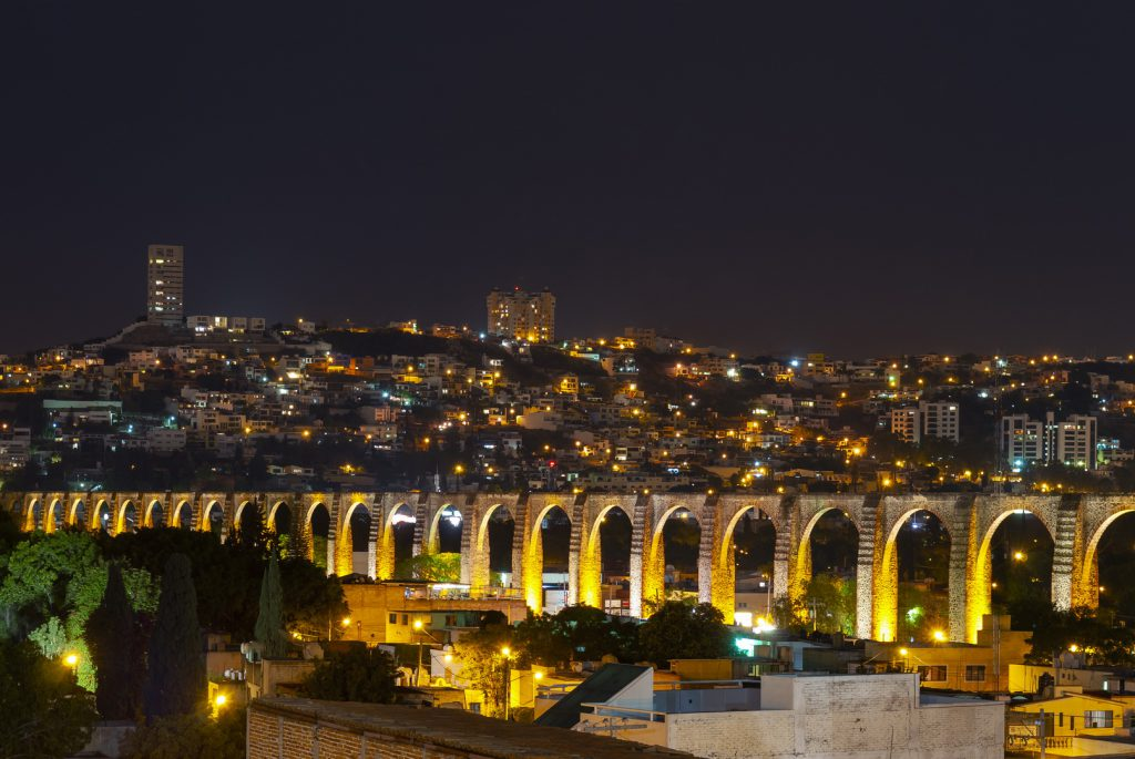 Queretaro City Viaduct at night - Mexican Insurance Store